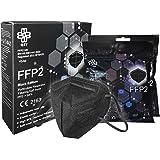 Masker FFP2 zwart [Black Edition] Box 10 stuks CE-gecertificeerd met elastieken & neusclip, aanpasbaar, 5 filterdiktes, ademb