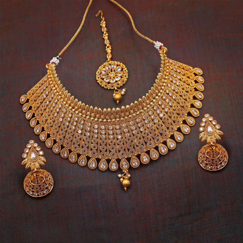 Apara Gold Plated Kundan Jalebi Design Traditional Semi Bridal