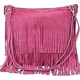 AMBRA Moda Damen Handtasche Ledertasche Umhängetasche Fransentasche Schultertasche Damentasche Wildleder 32 cm x 29 cm x 2 cm