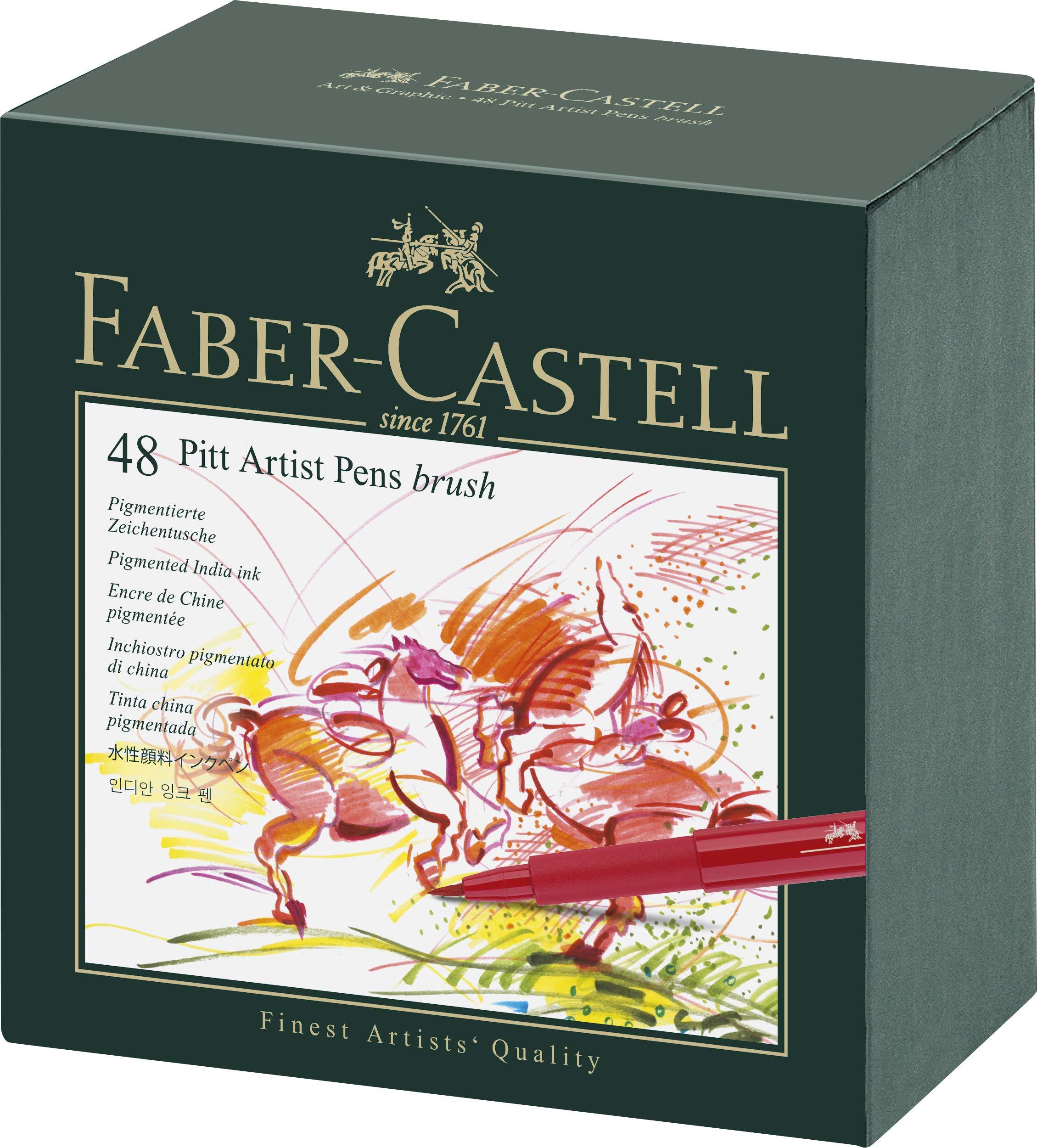 Faber-Castell 167100 – Pack de 4 rotuladores Pitt Artist Pens Black, diferentes grosores, color negro