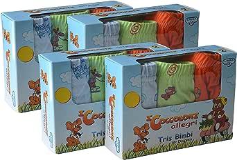 Fontana Calze Set da 12 Paia di Slip Bambino in Cotone 100% con Filato e Colori anallergici e Taglie dalla 2 Anni alla 8.