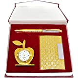 Crownlit 3 in 1 Apple Shape Clock, Card Holder with Premium Metal Pen for Gifting (Golden with Crystal Pen)