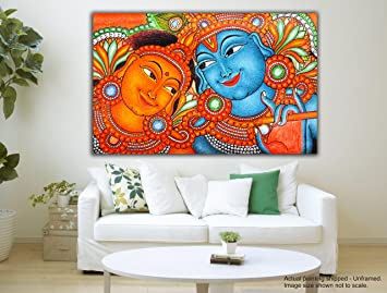 Tamatina Canvas Painting   Radha Krishna   Kerala Mural Art Part 71
