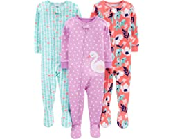 Simple Joys by Carter's Baby Girl's 3-Pack Snug Fit Footed Cotton Pyjamas, Pack of 3