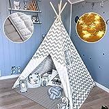 Tipi Enfant avec Tapis rembourré & Lumières- Grande Maison de Jeu Pliable Solides intérieure extérieure- 100% Toile en Coton