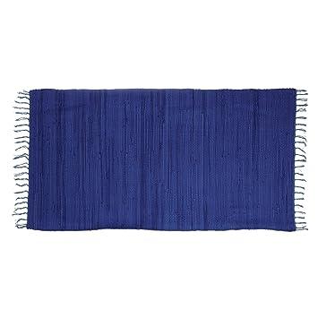 Flickenteppich blau  Relaxdays Flickenteppich blau 70 x 140 cm mit Fransen 100 ...