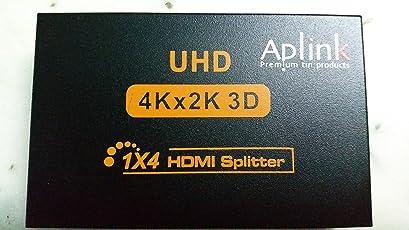 APLINK UHD 4 Ports HDMI Splitter Hub for HDTV (Black)