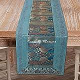 Maniona Chemin de table rectangulaire en brocart de soie bleu turquoise 40,6 x 152,4 cm