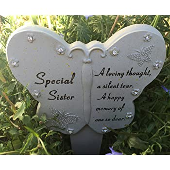 Graveside Sister Heart and Butterfly Memorial Stake Funeral Garden