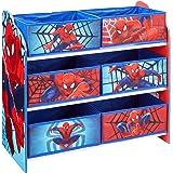 Hello Home Spindelmannen barn sovrum leksaksförvaringsenhet med 6 fack, trä, flerfärgad, 30 x 63,5 x 60 cm