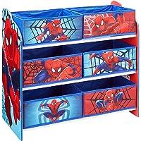 Marvel 866352 Meuble de Rangement pour Chambre d'Enfant avec 6 Bacs, Polypropylène, Bleu/Rouge, 30 x 63,5 x 60 cm