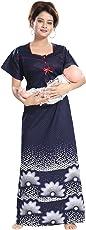 Inner Beats Women's Cotton Feeding Nighty (PSN146, Multicolour, Free Size)