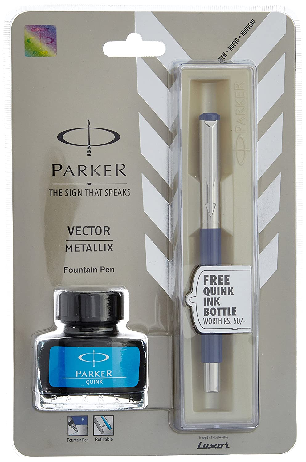 Free Ink Pens Parker Vector Mettalix Fountain Pen Blue With Quink Ink Bottle