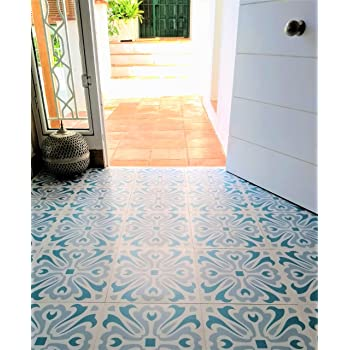 Self Adhesive Vinyl Flooring Tiles Dots Green And Blue 1m2