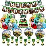 Pixel Style Gamer Birthday Party Supplies, gruvarspel tema festdekoration, inklusive Happy Birthday banner ballonger tårtlock