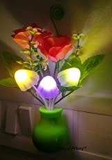 Pink Kites Plastic Mushroom LED Lamp with Green Pot and Pink Roses with Power Saving and Colour Changing Sensor -(Green)