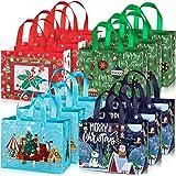 Whaline 12 große Weihnachtstaschen mit Griffen, wiederverwendbare Geschenktüte, Einkaufstaschen für den Urlaub, Weihnachten