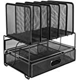 Amazon Basics Mesh Desk Organiser with Sliding Drawer, Double Tray and 5 Upright Sections, Black