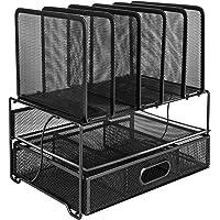 Amazon Basics Module de rangement - trieur de bureau grillagé, avec tiroir coulissant, deux plateaux et 5 divisions…