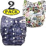 Babymoon (Set of 2) Premium Washable Cloth Diaper for Babies, Designer, Reusable, Adjustable Size, Waterproof, Pocket…