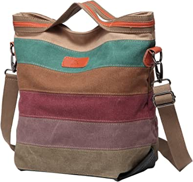 Defeng Canvas Schultertasche Umhängetasche Bunte Streifen Handtasche Messenger Damenhandtasche