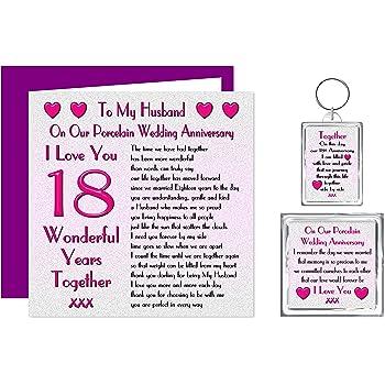My Wife 18th Wedding Anniversary Gift Set Card Keyring Fridge