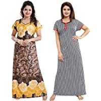 YKI Women's Synthetic Print Maxi Night Gown(Pack Of 2)