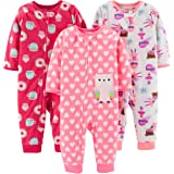 Simple Joys by Carter's Girl's 3-Pack Loose Fit Flame Resistant Fleece Footless Pajamas