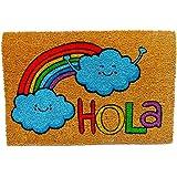 KOOK TIME Koko Doormats Felpudo para Entrada de Casa Original, Modelo Hola Arcoiris, Fibra de Coco y PVC, 40x60cm