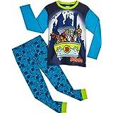 Scooby-Doo Pyjama Garcon, Ensemble 2 Pièces Enfant 100% Coton avec T-Shirt À Manches Longues Mystery Machine Et Bas de Pyjama