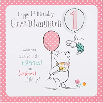 Hallmark Disney Baby Winnie 1st Birthday Granddaughter Card Love