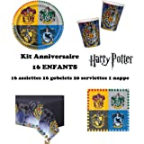 Uni que Set cumpleano Harry Potter Decoración Cumpleaños 16 Niños (16 Platos, 16 Tazas, 20 servilletas,1 Mantel) Fiesta para