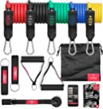 BeMaxx Fitness Resistance Band Set Training Guide - Premium Expanding Tubes | Heavy Duty Bands: 5 Latex Exercise Cords…