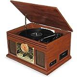 Record Player Vinyl Turntable with Speakers – USB MP3 Playback/ Bluetooth/ FM Radio/ CD & Cassette Player/ Vinyl LP…