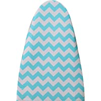 Magna Homewares Cotton Deluxe Iron Board Cover with Extra Thick Pad-Zigzag Design (110x33cm, White and Blue)