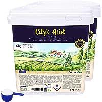 Nortembio Acide Citrique 2x5 Kg. Poudre Anhydre, 100% Pure. pour la Production Biologique. E-Book Inclus.
