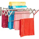 LIVINGBASICS® 9 ROD - Rust-free Stainless Steel Wall Mount/Mounted/Mounting Clothes Drying Stand/Cloth Dryer Racks/Towel Dry