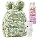 LeNuro Kinderrucksack Mädchen | Plüsch Rucksack mit Teddybär | perfekt für den Kindergarten oder die KiTa | Mini Rucksack mit