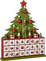 WeRChristmas Wooden Tree Advent Calendar Christmas Decoration, 40 cm - Green