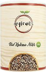 myfruits Bio Kakao Nibs (Kakaonibs) - ohne Zusätze. Sanft geröstet für einen schokoladigeren Geschmack. DE-ÖKO-003. Zum Backen oder für Müsli Abgefüllt in Deutschland - finest superfood (450g)