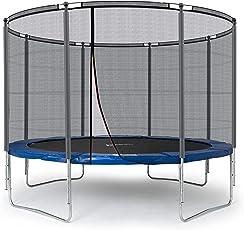 Ampel 24 Outdoor Trampolin 305 cm blau oder grün, Gartentrampolin mit verstärktem Sicherheitsnetz, Belastbarkeit 150 kg, Netz mit 8 Stangen, Extra Schutz