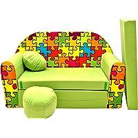Pro Cosmo Canapé-lit pour Enfants Z34avec Pouf/Repose-Pieds/Oreiller, en Tissu, Multicolore, 168x 98x 60cm