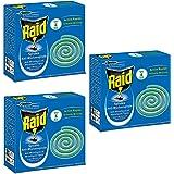 Raid Spirales Anti-Moustiques et Moustiques Tigres lot de 3 x 10 Spirales pour Usage Extérieur + 1 Socle Métallique Diffusion