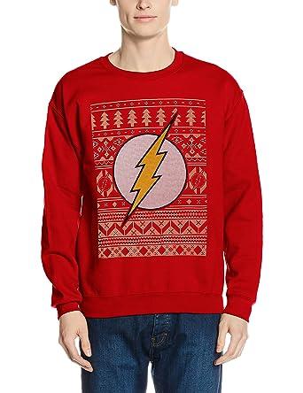 CID Men's The Flash-Fair Isle Logo Sweatshirt: Amazon.co.uk: Clothing