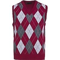 Guv'nors Mens Knitted Sleeveless Tank Top V Neck Knitted Slipover Diamond Pattern, XX-Large, Maroon