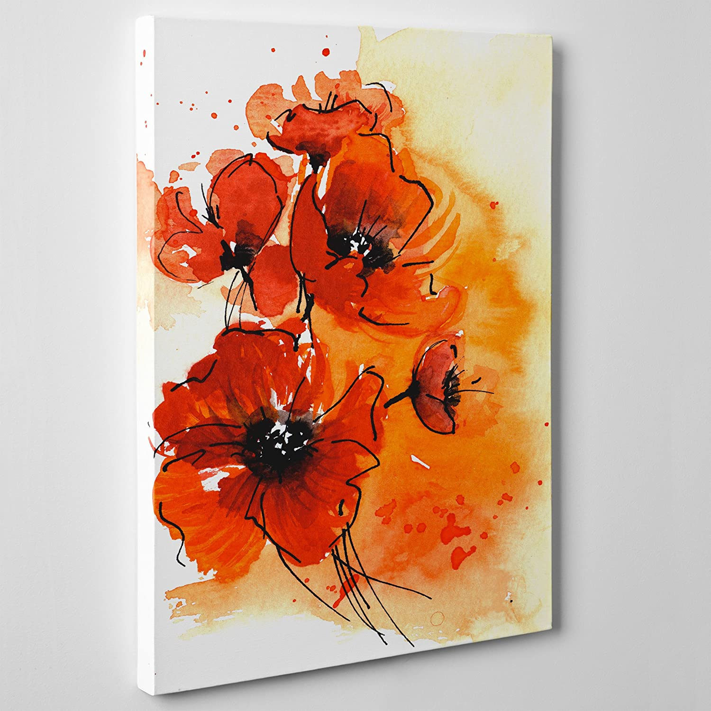 QUADRO MODERNO su Tela Canvas - Fiori PAPAVERI Rossi - Flowers ...