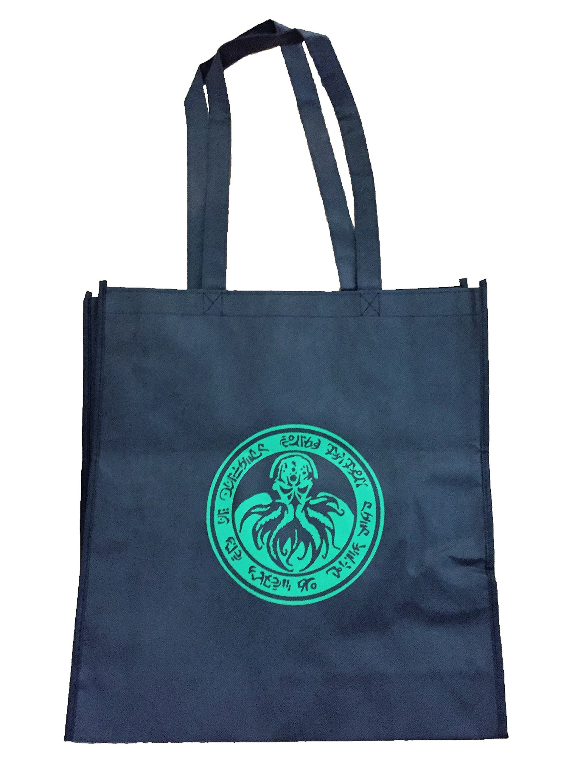 Lovecraft Cthulhu large black tote reusable Board Game bag or shopping bag with gusset. - handmade-bags