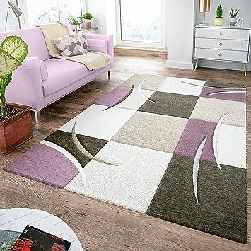 Tappeto da salotto, moderno, a quadretti, colori pastello (viola ...