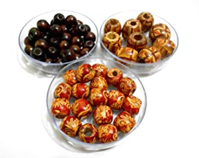 AM Wooden Jewellery Making Beads (10x12x14mm, Multicolour) - Pack of 3