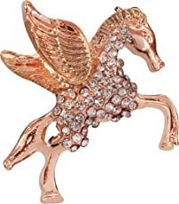 Panjatan Rose Gold Unicorn Studded with Pearls Stud Pin Brooch for Men and Women by WI Retail